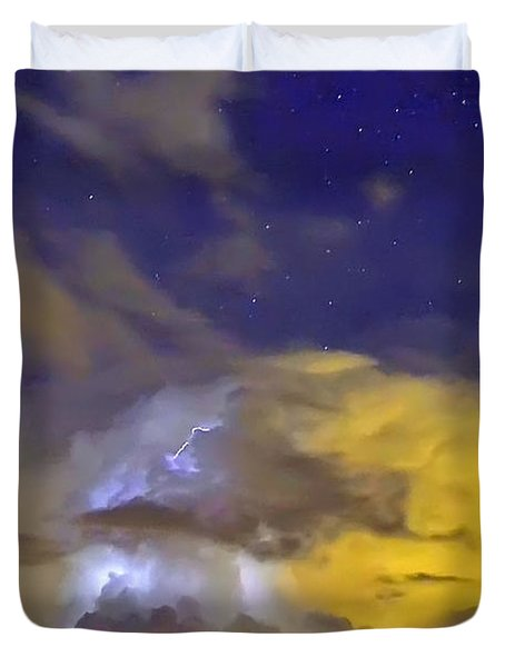 Duvet Cover featuring the photograph Stormy Stormy Night by Charlotte Schafer