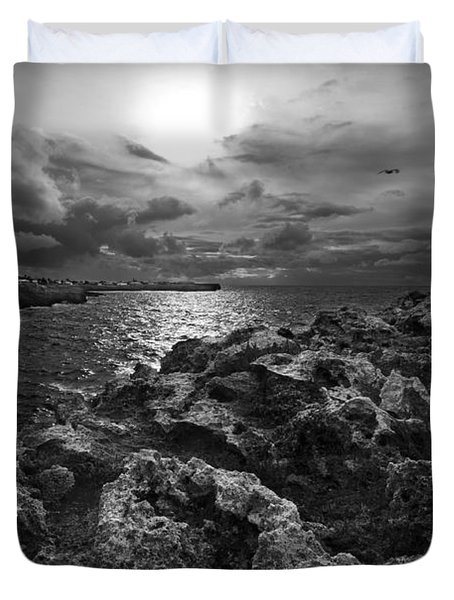 Blank And White Stormy Mediterranean Sunrise In Contrast With Black Rocks And Cliffs In Menorca  Duvet Cover