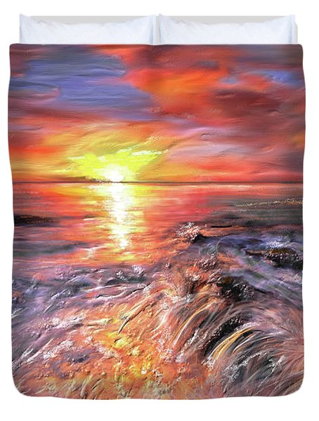 Stormy Sunset At Water's Edge Duvet Cover by Angela A Stanton