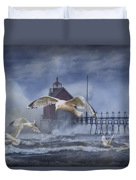 Stormy Weather At The Grand Haven Lighthouse Duvet Cover by Randall Nyhof