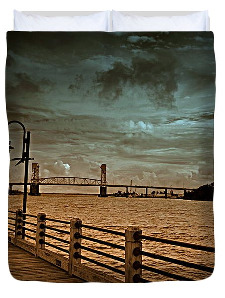 Stormy Wilmington Riverwalk  Duvet Cover