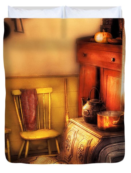 Stove - An Old Farm Kitchen Duvet Cover by Mike Savad