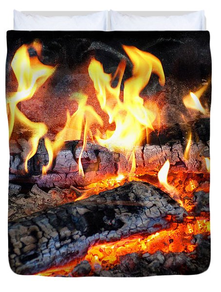 Stove - The Yule Log  Duvet Cover by Mike Savad