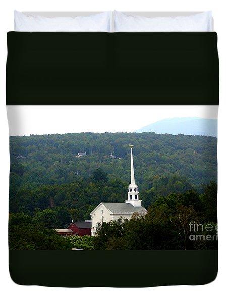 Stowe Community Church Duvet Cover by Patti Whitten