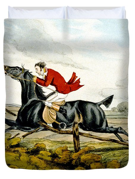 Straight Through The Fence From Qualified Horses And Unqualified Riders Duvet Cover by Henry Thomas Alken