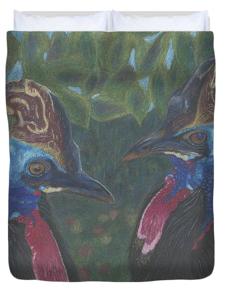 Duvet Cover featuring the drawing Strange Birds by Arlene Crafton