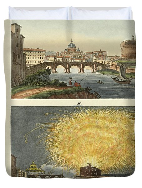 Strange Buildings In Rome Duvet Cover by Splendid Art Prints