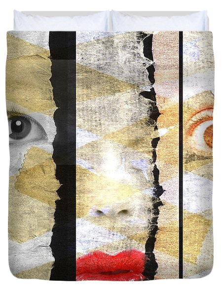 Strange Faces Duvet Cover by David Ridley