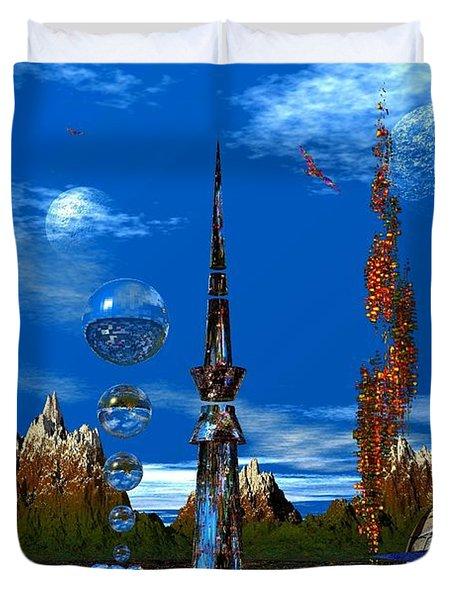 Strange Planet Duvet Cover by Mark Blauhoefer