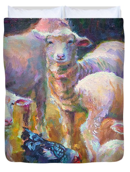 Stranger At The Well - Spring Lambs Sheep And Hen Duvet Cover
