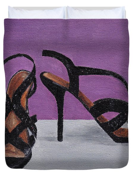 Strappy Black Heels For Maddy Duvet Cover