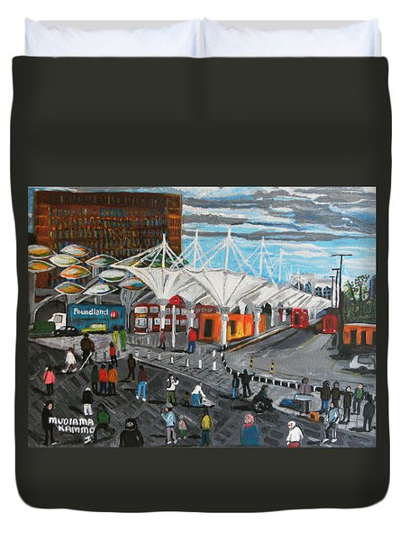 Duvet Cover featuring the painting Stratford Bus Station Study 02 by Mudiama Kammoh