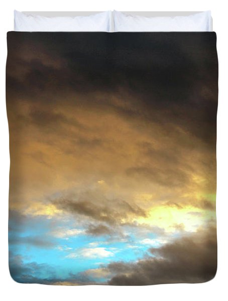 Stratus Clouds At Sunset Bring Serenity Duvet Cover