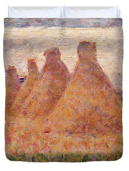 Straw Stacks Duvet Cover by Georges Pierre Seurat