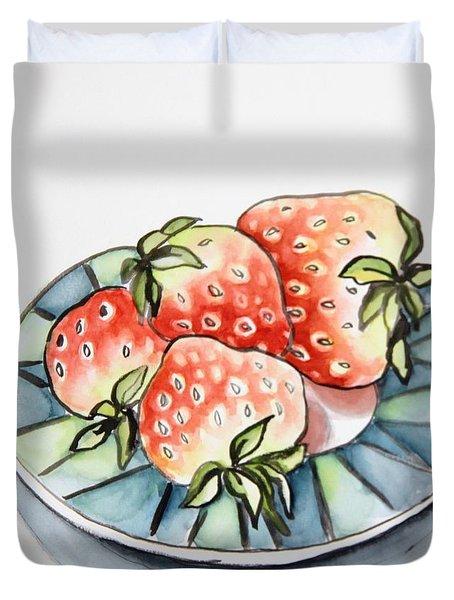 Strawberries On Plate Duvet Cover