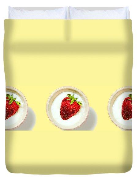 Strawberry And Cream Duvet Cover by Bob Orsillo