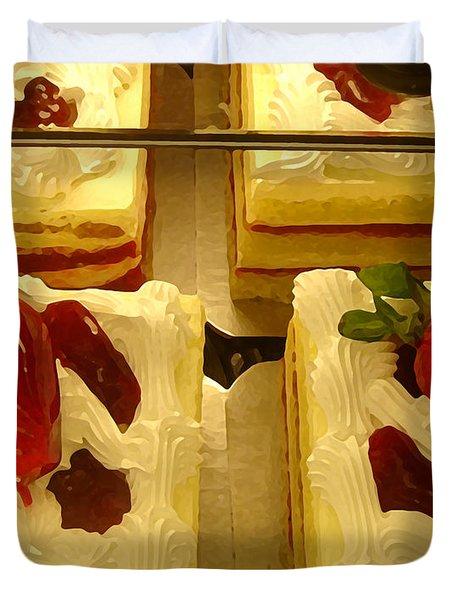 Strawberry Cakes Duvet Cover by Amy Vangsgard