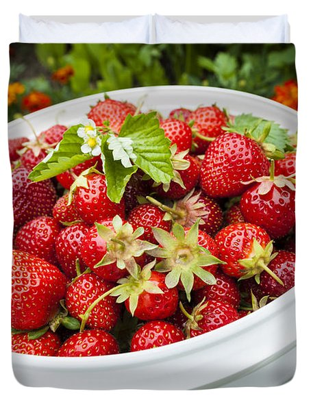 Strawberry Harvest Duvet Cover by Elena Elisseeva