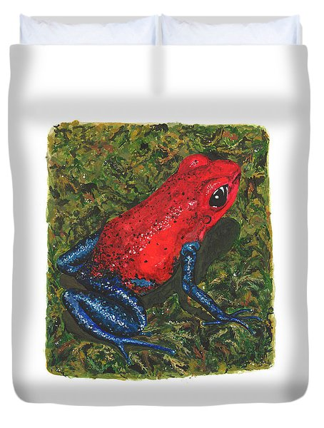 Strawberry Poison Dart Frog Duvet Cover by Cindy Hitchcock
