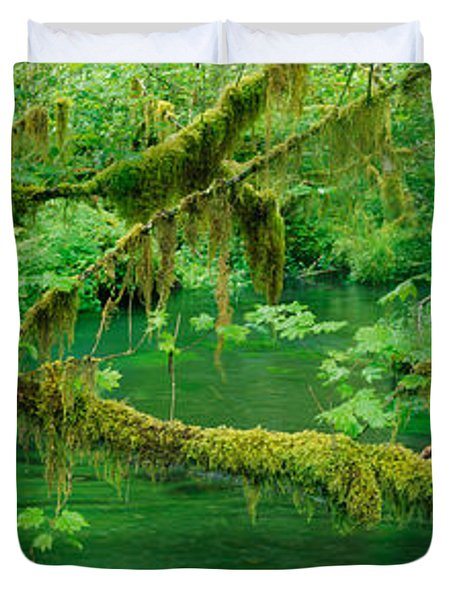 Stream Flowing Through A Rainforest Duvet Cover