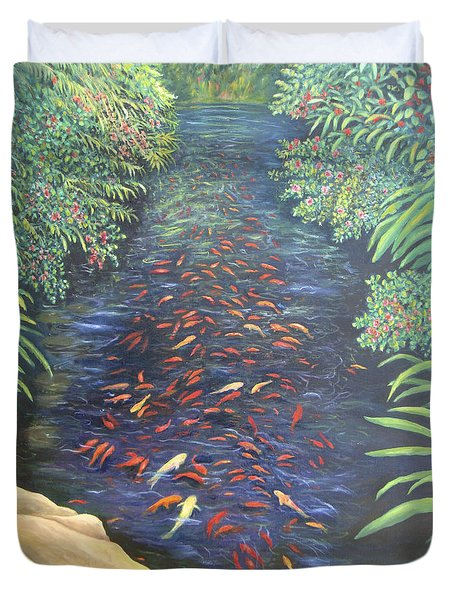 Duvet Cover featuring the painting Stream Of Koi by Karen Zuk Rosenblatt