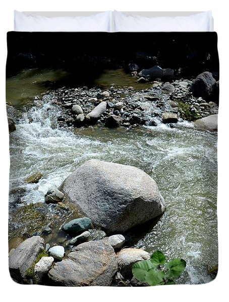 Duvet Cover featuring the photograph Stream Water Foams And Rushes Past Boulders by Imran Ahmed