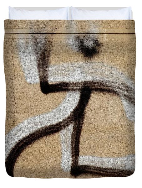 Duvet Cover featuring the photograph Street Art 'dablos' Graffiti In Bucharest Romania  by Imran Ahmed