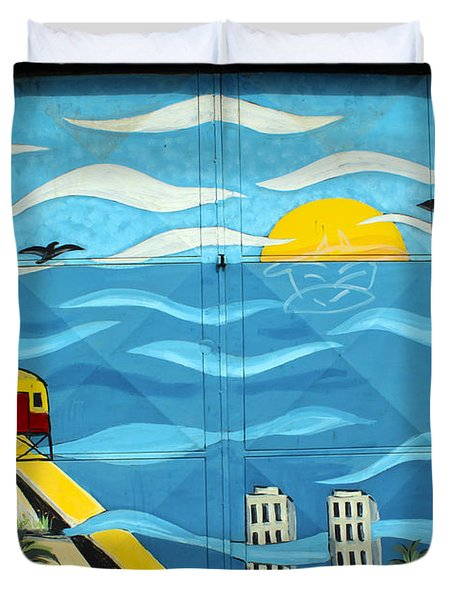 Street Art Valparaiso Chile 13 Duvet Cover by Kurt Van Wagner