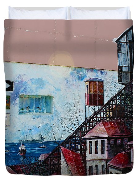 Street Art Valparaiso Chile 17 Duvet Cover by Kurt Van Wagner