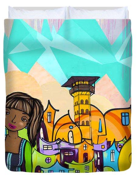 Street Art Valparaiso Chile 18 Duvet Cover by Kurt Van Wagner