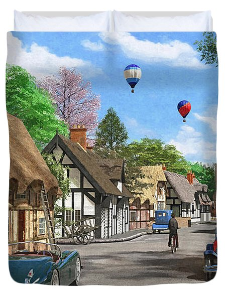 Street Cottage Lane Duvet Cover by Dominic Davison