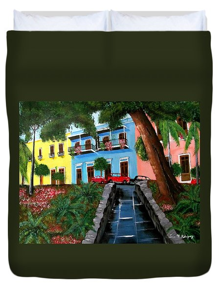Street Hill In Old San Juan Duvet Cover by Luis F Rodriguez