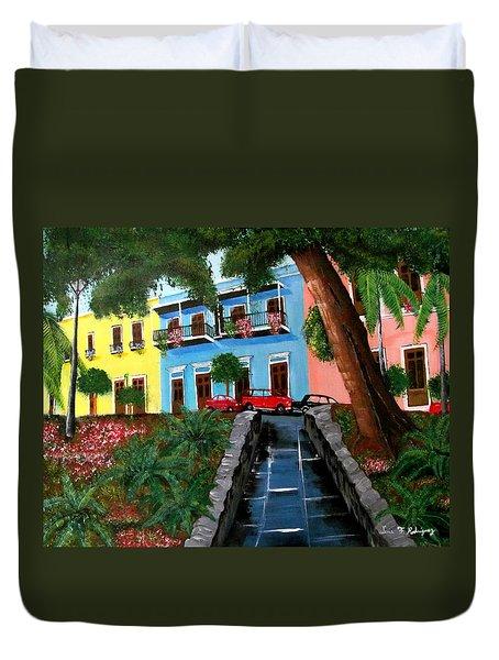 Street Hill In Old San Juan Duvet Cover