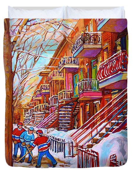 Street Hockey Game In Montreal Winter Scene With Winding Staircases Painting By Carole Spandau Duvet Cover