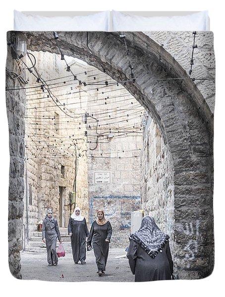 Street In Jerusalem Old Town Israel Duvet Cover