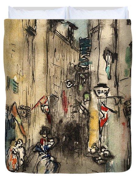 Street In Marseille Duvet Cover