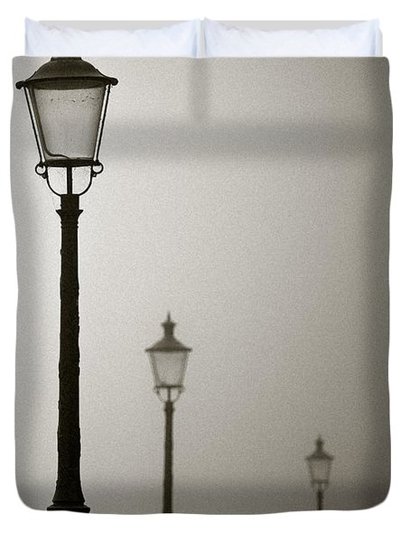 Street Lamps Duvet Cover by Dave Bowman