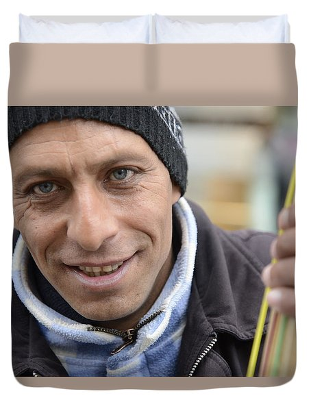 Duvet Cover featuring the photograph Street Musician - The Gypsy Bassist 1 by Teo SITCHET-KANDA