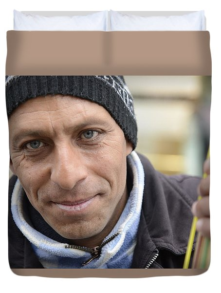 Street Musician - The Gypsy Bassist 2 Duvet Cover