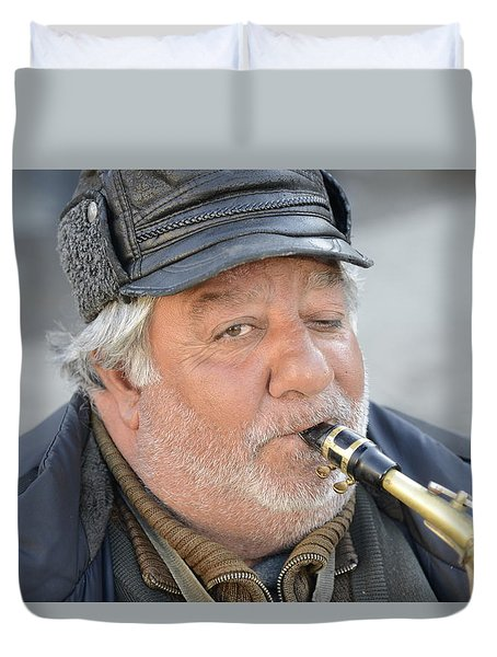 Duvet Cover featuring the photograph Street Musician - The Gypsy Saxophonist 1 by Teo SITCHET-KANDA
