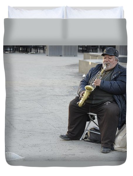 Street Musician - The Gypsy Saxophonist 3 Duvet Cover