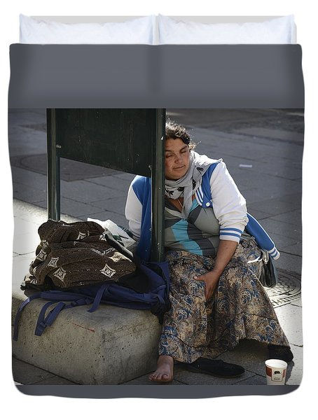 Duvet Cover featuring the photograph Street People - A Touch Of Humanity 10 by Teo SITCHET-KANDA