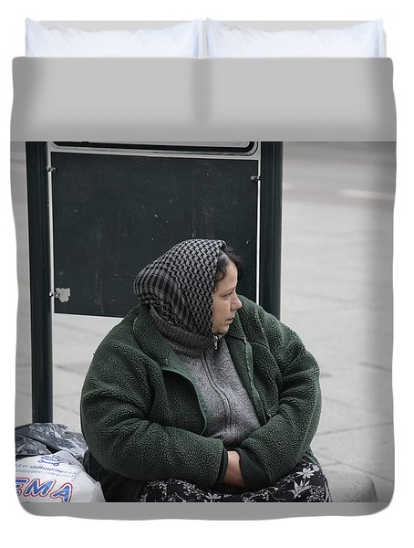 Duvet Cover featuring the photograph Street People - A Touch Of Humanity 9 by Teo SITCHET-KANDA