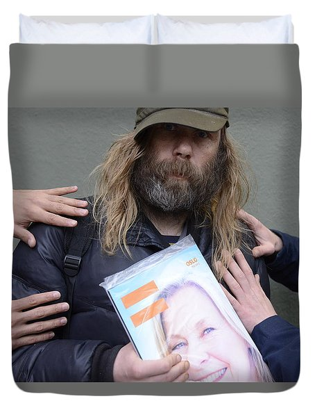 Duvet Cover featuring the photograph Street People - A Touch Of Humanity 12 by Teo SITCHET-KANDA