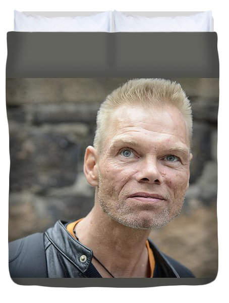 Duvet Cover featuring the photograph Street People - A Touch Of Humanity 3 by Teo SITCHET-KANDA
