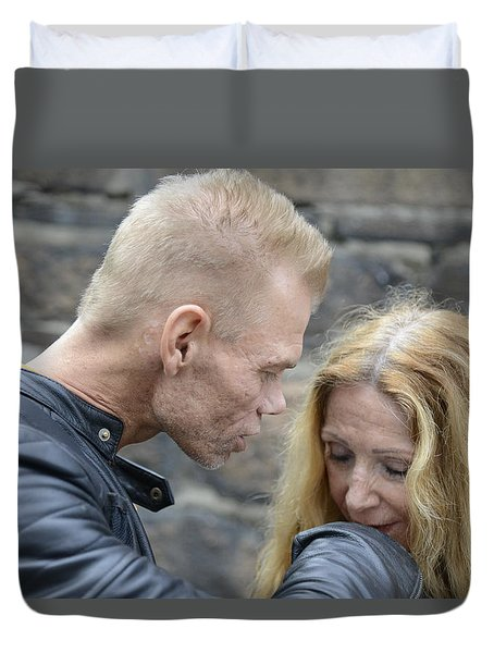 Duvet Cover featuring the photograph Street People - A Touch Of Humanity 4 by Teo SITCHET-KANDA