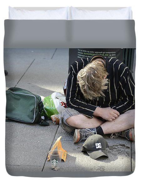 Duvet Cover featuring the photograph Street People - A Touch Of Humanity 8 by Teo SITCHET-KANDA