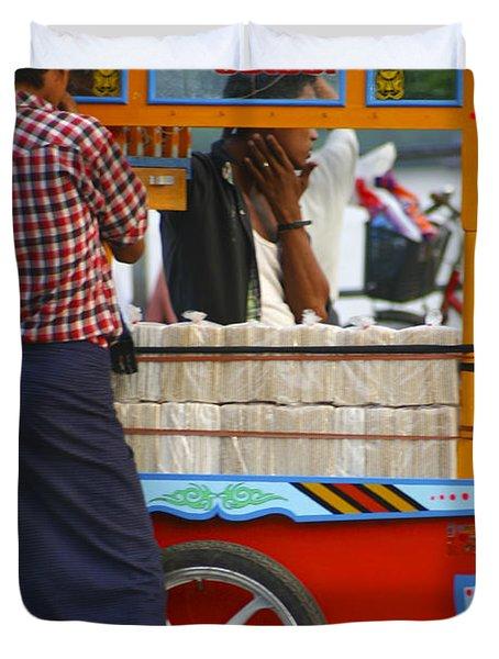 Street Seller At The Foreshore Of The Yangon River Yangon Myanmar Duvet Cover