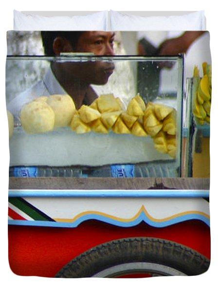 Street Seller Offering Fresh Fruit Yangon Myanmar Duvet Cover