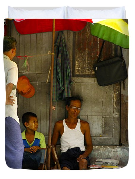 Street Seller Sitting In The Shade Under An Umbrella Yangon Myanmar Duvet Cover by Ralph A  Ledergerber-Photography